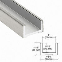 CRL EB750BS Wet Glaze U-Channel, Brushed Stainless