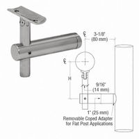 CRL HR2JPBS Sunset Series Post Mounted Hand Rail Bracket, Brushed Stainless