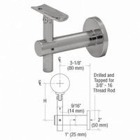 CRL HR2JWBS Sunset Series Wall Mounted Hand Rail Bracket, Brushed Stainless
