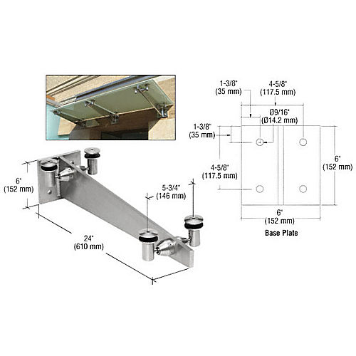 Crl Gab24bs Universal Wall Mounted Glass Awning Bracket 24