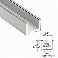 CRL EB500BS Wet Glaze U-Channel, Brushed Stainless
