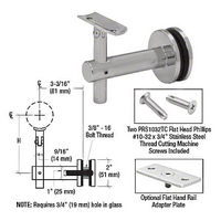 CRL HR2JGBS Sunset Series Glass Mounted Hand Rail Bracket, Brushed Stainless