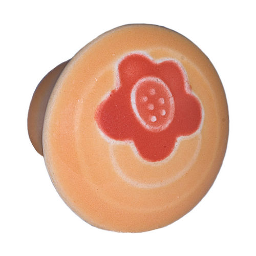 Acorn PR7YP Small Round Knob Gold w/Orange Flower