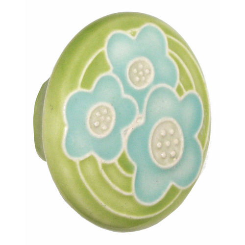 Acorn PR8YP Large Round Knob Light Green w/3 Blue Flowers