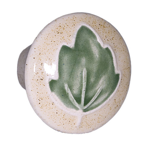Acorn PRAYP Small Round Knob Tan w/Green Leaf