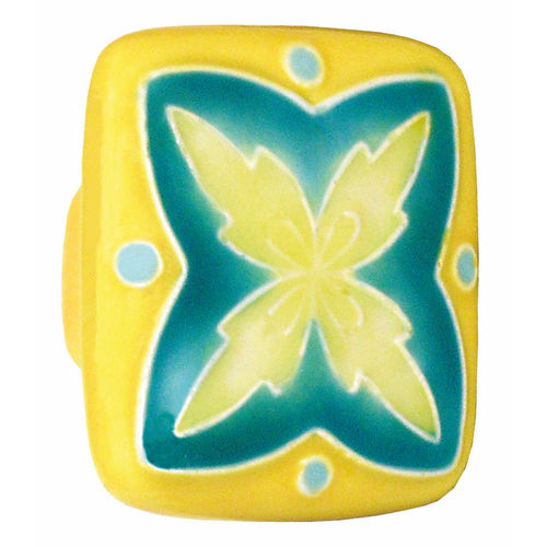 Acorn PS2YP Large Square Knob Yellow & Teal