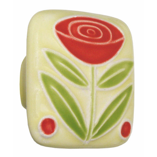 Acorn PSJYP Large Square Knob Yellow w/Flower & 2 Berries