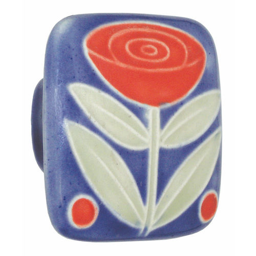 Acorn PSLYP Large Square Knob Dark Blue w/Flower & 2 Berries