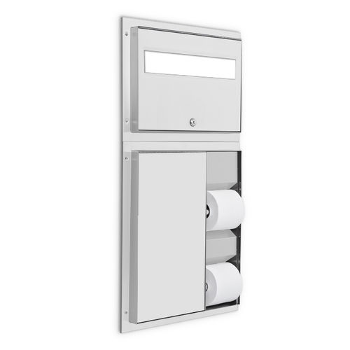 AJW U861A Dual Stall Seat Cover & Toilet Tissue Dispenser, Partition Mounted