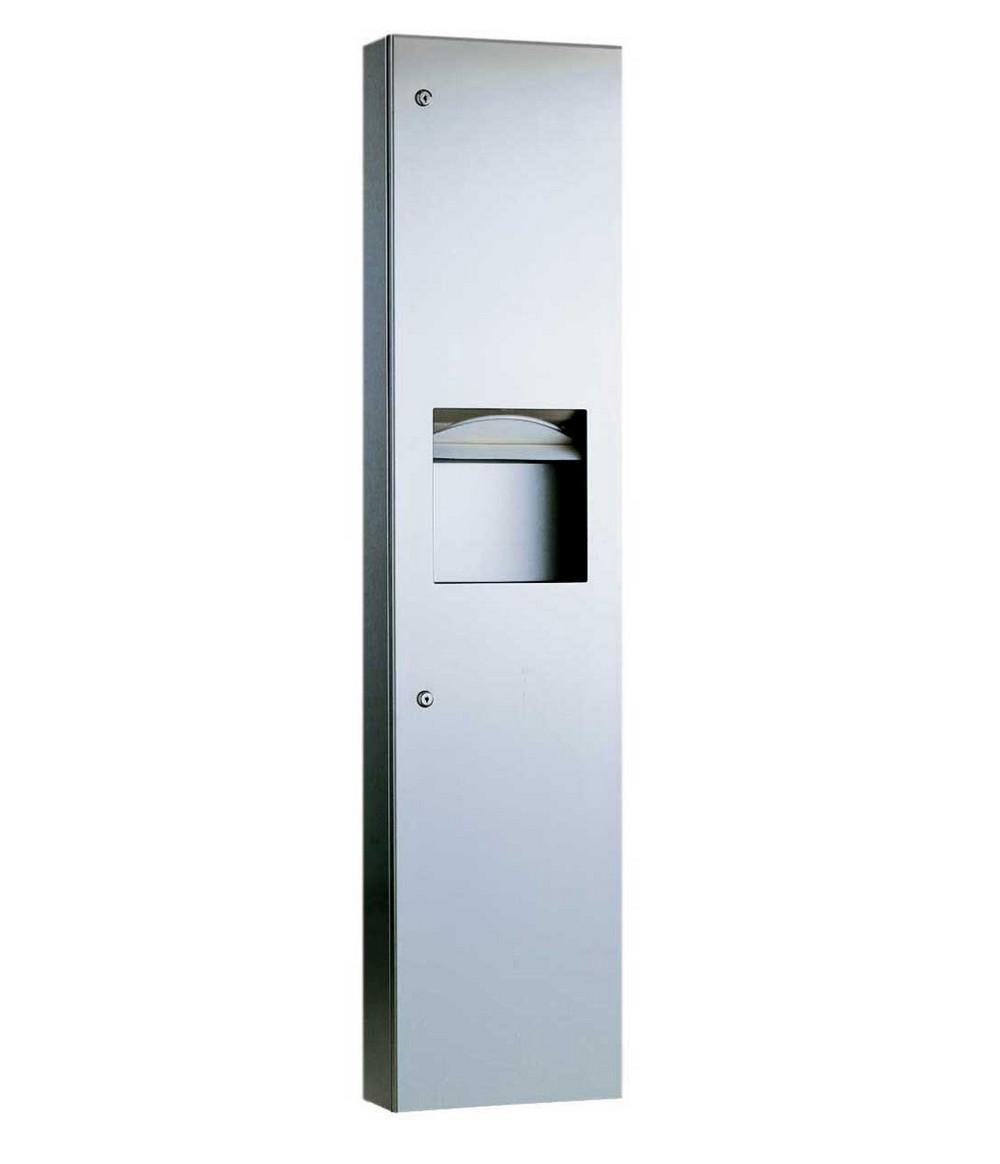 Bobrick b 38032 paper towel dispenser waste receptacle for Home bathroom towel dispenser
