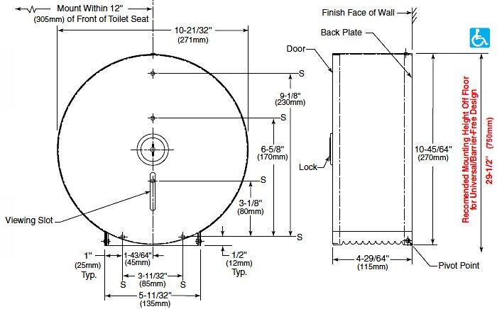 Bobrick B 2890 Single 10 Roll Toilet Tissue Dispenser Builderssale Com