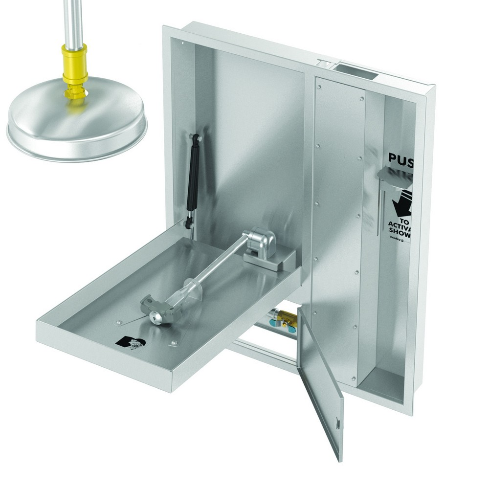 Washroom Products: Bradley S19345HxB Safety Shower With Eyewash