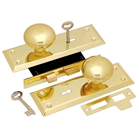 First Watch Security 1129 Keyed Knob Mortise Lockset, Polished Brass