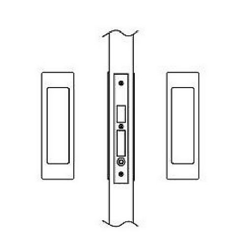 Hafele 911.26.781 Sliding/Pocket Door Lock, Passage With Lockcase As Dust Proof Strike, Each