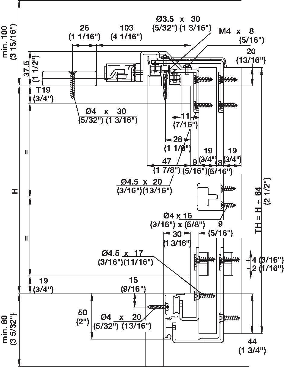 Hafele 40591224 Sliding Door Fitting 2 Door Set Builderssale
