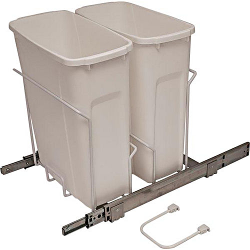 Hafele 503.13.757 Kv Scb15-2-20Wh Trash Can Double Bottom Mounted 20 Quart Soft Close, White