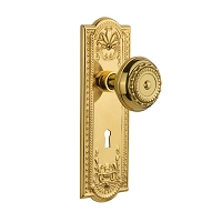 Nostalgic Warehouse 701097 Meadows Plate with Keyhole Privacy Meadows Door Knob, Polished Brass