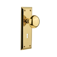 Nostalgic Warehouse 701105 New York Plate with Keyhole Privacy New York Door Knob, Polished Brass