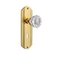 Nostalgic Warehouse 701120 Deco Plate with Keyhole Privacy Crystal Glass Door Knob, Polished Brass