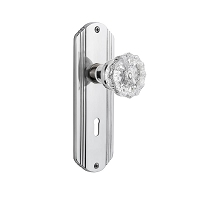 Nostalgic Warehouse 701142 Deco Plate with Keyhole Privacy Crystal Glass Door Knob, Bright Chrome