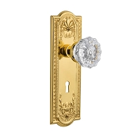 Nostalgic Warehouse 701210 Meadows Plate with Keyhole Privacy Crystal Glass Door Knob, Polished Brass