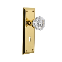 Nostalgic Warehouse 701220 New York Plate with Keyhole Privacy Crystal Glass Door Knob, Polished Brass