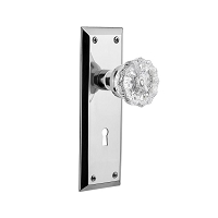 Nostalgic Warehouse 701235 New York Plate with Keyhole Privacy Crystal Glass Door Knob, Bright Chrome