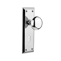 Nostalgic Warehouse 701240 New York Plate with Keyhole Privacy New York Door Knob, Bright Chrome