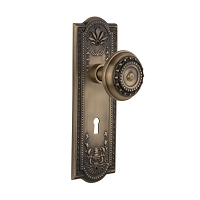 Nostalgic Warehouse 701810 Meadows Plate with Keyhole Privacy Meadows Door Knob, Antique Brass