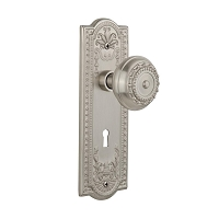 Nostalgic Warehouse 701812 Meadows Plate with Keyhole Privacy Meadows Door Knob, Satin Nickel