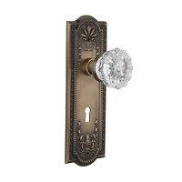Nostalgic Warehouse 701825 Meadows Plate with Keyhole Privacy Crystal Glass Door Knob, Antique Brass