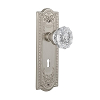 Nostalgic Warehouse 701827 Meadows Plate with Keyhole Privacy Crystal Glass Door Knob, Satin Nickel