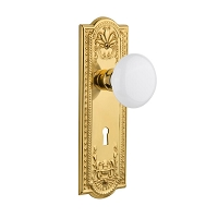 Nostalgic Warehouse 701870 Meadows Plate with Keyhole Privacy White Porcelain Door Knob, Polished Brass