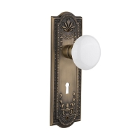 Nostalgic Warehouse 701871 Meadows Plate with Keyhole Privacy White Porcelain Door Knob, Antique Brass