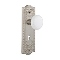 Nostalgic Warehouse 701873 Meadows Plate with Keyhole Privacy White Porcelain Door Knob, Satin Nickel