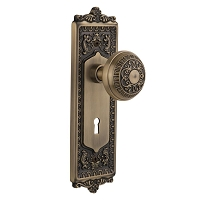 Nostalgic Warehouse 701915 Egg & Dart Plate with Keyhole Privacy Egg & Dart Door Knob, Antique Brass
