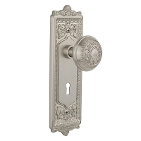 Nostalgic Warehouse 701917 Egg & Dart Plate with Keyhole Privacy Egg & Dart Door Knob, Satin Nickel