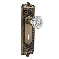Nostalgic Warehouse 701930 Egg & Dart Plate with Keyhole Privacy Crystal Glass Door Knob, Antique Brass