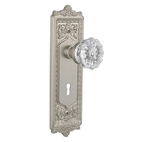 Nostalgic Warehouse 701932 Egg & Dart Plate with Keyhole Privacy Crystal Glass Door Knob, Satin Nickel