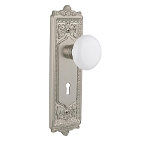 Nostalgic Warehouse 701978 Egg & Dart Plate with Keyhole Privacy White Porcelain Door Knob, Satin Nickel