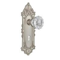Nostalgic Warehouse 702092 Victorian Plate with Keyhole Privacy Crystal Glass Door Knob, Satin Nickel