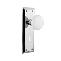 Nostalgic Warehouse 702115 New York Plate with Keyhole Privacy White Porcelain Door Knob, Bright Chrome
