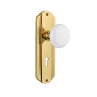 Nostalgic Warehouse 702169 Deco Plate with Keyhole Privacy White Porcelain Door Knob, Polished Brass