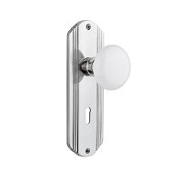 Nostalgic Warehouse 702170 Deco Plate with Keyhole Privacy White Porcelain Door Knob, Bright Chrome