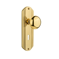 Nostalgic Warehouse 702610 Deco Plate with Keyhole Privacy New York Door Knob, Polished Brass