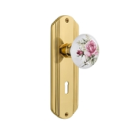 Nostalgic Warehouse 702627 Deco Plate with Keyhole Privacy White Rose Porcelain Door Knob, Unlacquered Brass