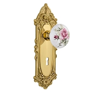 Nostalgic Warehouse 702677 Victorian Plate with Keyhole Privacy White Rose Porcelain Door Knob, Unlacquered Brass