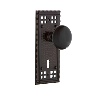 Nostalgic Warehouse 702992 Craftsman Plate with Keyhole Privacy Black Porcelain Door Knob, Timeless Bronze