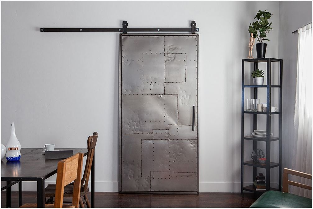 Rustica hardware mountain scrap metal door top mount for Metal barn doors