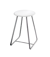 Smedbo FK403 Outline Bathroom Stool Height 22-1/2'' White Seat, Polished Stainless Steel